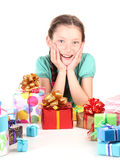 Little girl with gifts Royalty Free Stock Photos