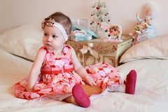 Little girl with a gifts Royalty Free Stock Photo