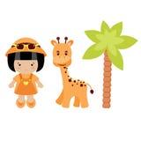 Little Girl, Giraffe And Palm Tree Stock Photos