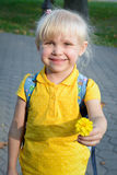 Little girl gives a flower Royalty Free Stock Photo