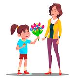 Little Girl Gives Flowers To Mother, Happy Mother S Day Vector. Present, Gift. Isolated Illustration vector illustration