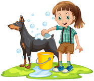 Little girl giving bath to pet dog Royalty Free Stock Photo