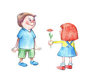 Little girl giving flower to boy Royalty Free Stock Photography