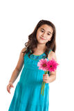 Little girl giving flowers Royalty Free Stock Photography