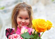 Free Little Girl Giving Flowers Bouquet Royalty Free Stock Photography - 218036717