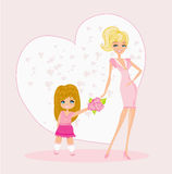 Little girl giving flowers to mom on mother's day Stock Photos