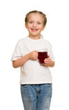 Little girl with glass of juice Royalty Free Stock Photography