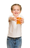 Little girl with glass of juice Royalty Free Stock Image