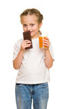 Little girl with a glass of juice Stock Photo
