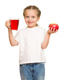 Little girl with glass of juice Stock Photography
