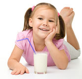 Little girl with a glass of milk Stock Photography