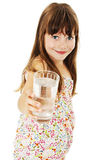Little girl with glass of water. Isolated on white background royalty free stock photo