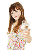 Little girl with glass of water. Isolated on white background stock images