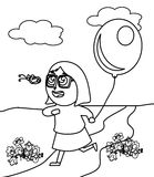 Little girl with glasses catching a butterfly coloring page Stock Photos
