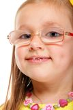 Little girl in glasses doing fun isolated Stock Photos