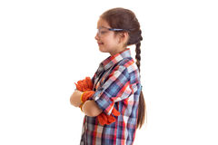 Little girl in glasses and gloves Royalty Free Stock Image