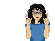 Little girl with glasses in shock from the new ideas and gesture up. Little girl with glasses in shock from the new ideas and gestures index fingers of both Stock Photography