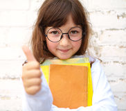 Little girl with glasses shows ok Stock Photography