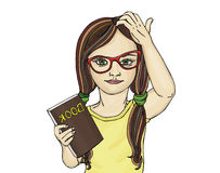 Little girl in glasses wants to school. I thought on the book. Stock Photos