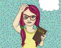 Little girl in glasses wants to school. I thought on the book. Royalty Free Stock Photography