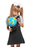 Little girl with globe. Of the world isolated on white background Royalty Free Stock Image