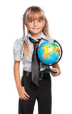 Little girl with globe. Of the world isolated on white background Stock Image