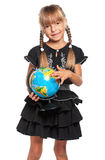 Little girl with globe. Happy little girl with globe of the world isolated on white background Royalty Free Stock Photo