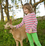 Little girl with goat. On a pasture Stock Image