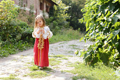 Little girl goes on road Royalty Free Stock Image