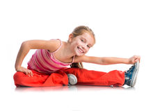 Little girl goes in for sports Royalty Free Stock Photo