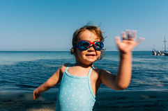 Little girl with goggles Royalty Free Stock Photos