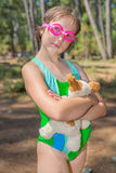 Little girl in goggles Stock Photos