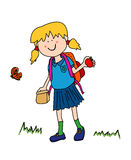 Little girl going back to school. Vacations are over it is Back To School time: little girl cartoon character in uniform going back to school with her lunch bag Royalty Free Stock Photo