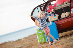 The little girl is going on a journey. Stock Image