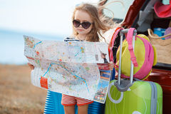The little girl is going on a journey. Stock Images