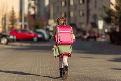 Little  girl going to school Royalty Free Stock Photo