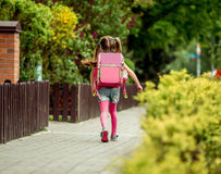 Little girl  going to school Stock Photos