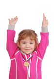 Little girl with gold medal victory Stock Photo