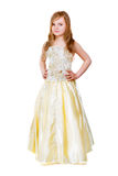 Little girl in golden dress Royalty Free Stock Photos