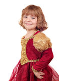 Little girl in golden red dress Royalty Free Stock Photo