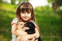 Little girl with a Golden retriever puppy. A puppy in the hands of a girl stock photos