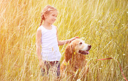 Little girl with golden retriever Royalty Free Stock Image