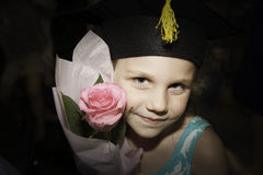 Little Girl Graduates Kindergarten Stock Photo
