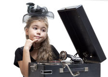 Little girl with gramophone Royalty Free Stock Photography