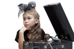 Little girl with gramophone Royalty Free Stock Photo