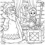 Little girl and Grandfather Frost. Black-and-white illustration (coloring page) with the characters of a folk tale: small girl and Grandfather Frost Royalty Free Stock Photo
