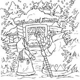 Little girl and Grandfather Frost. Black-and-white illustration (coloring page) with characters of a folk tale: little girl and Grandfather Frost in front of a Stock Photos