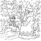 Little girl and Grandfather Frost. Black-and-white illustration (coloring page) with characters of a folk tale: little girl and Grandfather Frost in snow-covered Royalty Free Stock Photography
