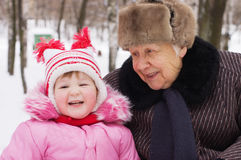 Little girl and grandmother Royalty Free Stock Photos