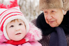 Little girl with the grandmother Royalty Free Stock Image